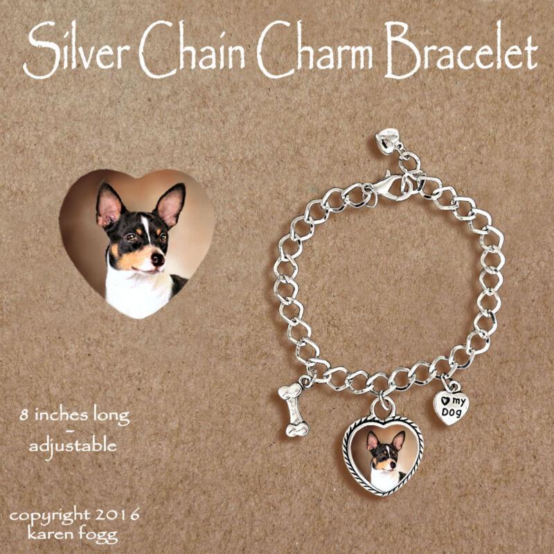 RAT TERRIER DOG - CHARM BRACELET SILVER CHAIN & HEART
