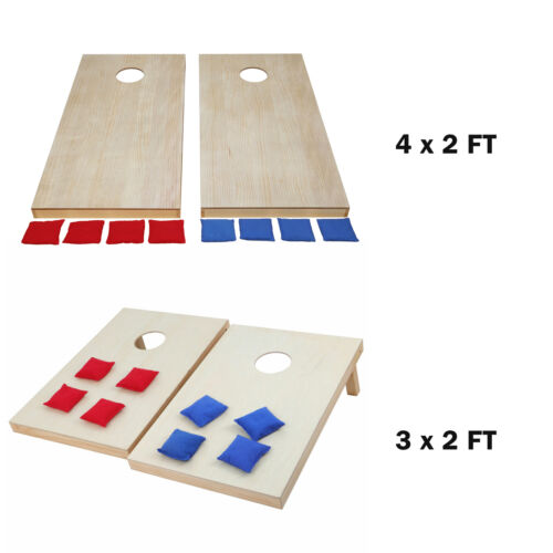 3 x 2 FT/4 x 2FT Wooden Cornhole Bean Bag Toss Game Set Lawn Backyard Regulation Backyard Games