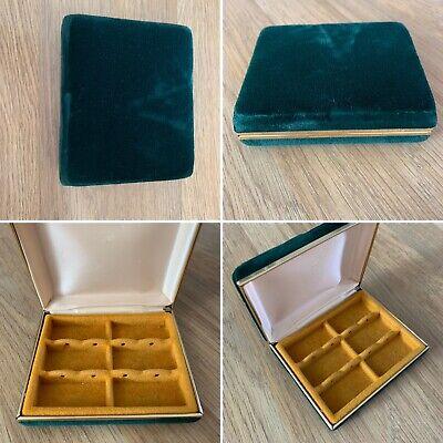 Vintage Jewellery Box Case Earings Emerald Green Velvet Gold Trim