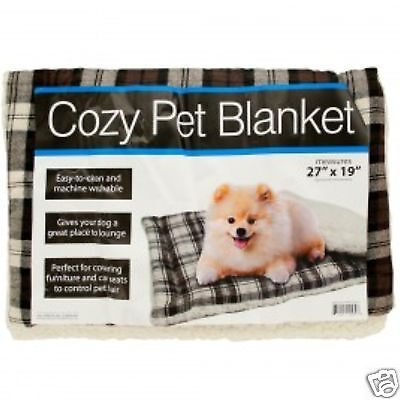 "COZY PLAID LIGHTWEIGHT PET BLANKET FLEECE PADDING POLYESTER THROW DOG CAT 27x19"""