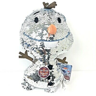 Disney Frozen 2 Reversible Sequins Stuffed Plush Olaf White & Silver Snowflakes