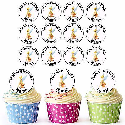 Disney Tinkerbell 24 Personalisiert Vorgeschnittene Essbare Cupcake Topper