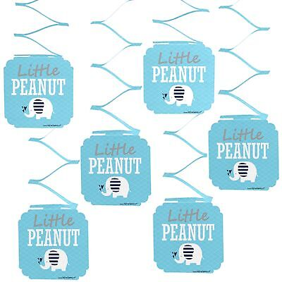 Blue Elephant - Boy Baby Shower or Birthday Party Hanging Decorations - 6 Count - Baby Elephant Party Decorations