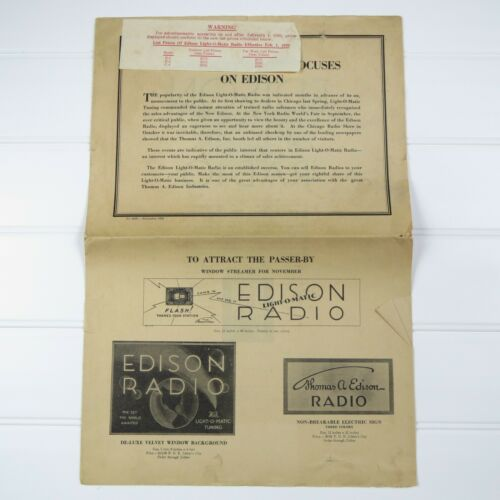 EDISON LIGHT-O-MATIC RADIO - VINTAGE / ANTIQUE 1929 DEALER NEWSPAPER AD SAMPLER