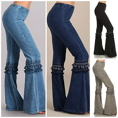 Denim Effect Hippie Boho Bell Bottom Flare Stretch Fringe Pants Yoga Plus S-3X - Plus Size Bell Bottoms