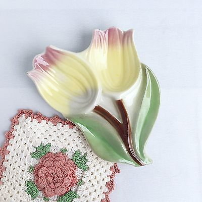 Ceramic Spoon Rest Tulips Yellow Pink Green Flowers Spring Pottery