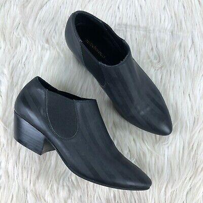 Intentionally Blank Women's 5 Black Tonal Stripe Brandy Low Ankle Booties Boots