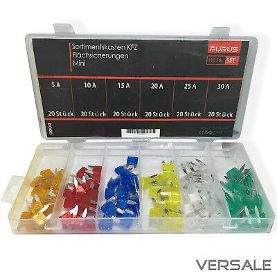 Autosicherungen KFZ Mini Sicherungen Flachsicherung 11mm Sortiment 5-30A Set 120
