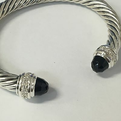 David Yurman Sterling Silver 925 Onyx & Diamonds 7mm Cable Cuff Bracelet