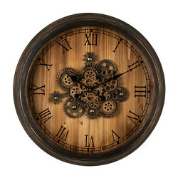 Glitzhome 27'' Farmhouse Rustic Wooden Moving Gears Large Wall Clock Home Decor
