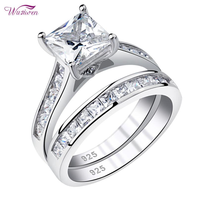 Wuziwen Wedding Engagement Ring Set Women Princess Aaaa Cz 925 Sterling Silver
