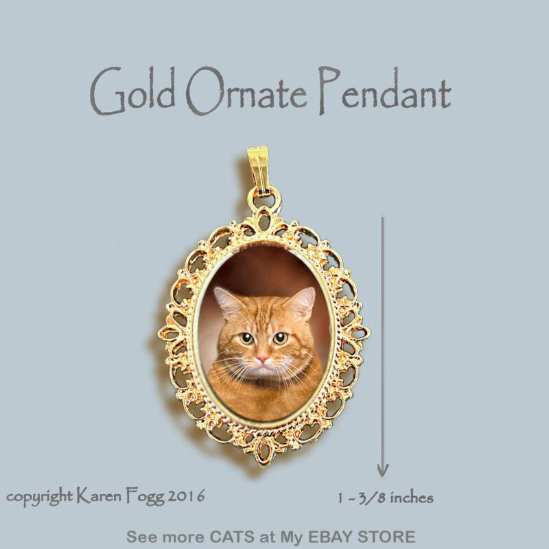 TABBY ORANGE SHORTHAIR Cat - ORNATE GOLD PENDANT NECKLACE