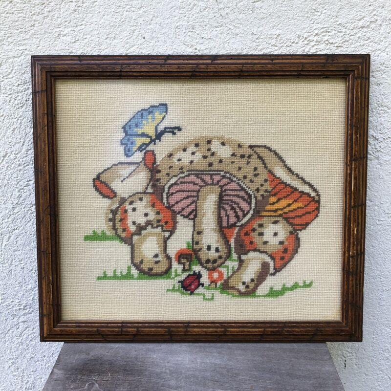 Vintage 1970s Mushroom Picture Crewel Embroidered Framed Wall Hanging