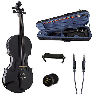 CECILIO ACOUSTIC ELECTRIC VIOLIN METALLIC BLACK EBONY FITTED CVNAE-Black