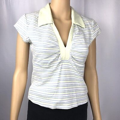Too Hot Womens Shirt Ruched Top Size XL V-neck Yellow Blue Stripe Cap Sleeve
