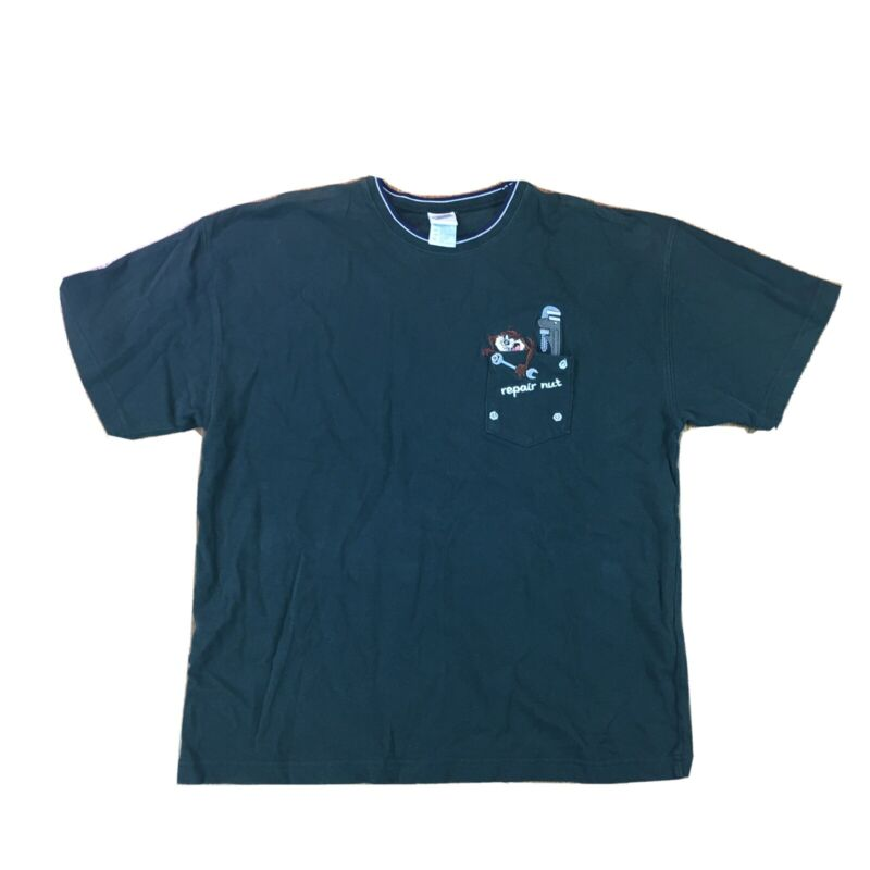 Vintage Warner Brothers Taz Pocket T Shirt Sz XL Green Repair Looney Tunes