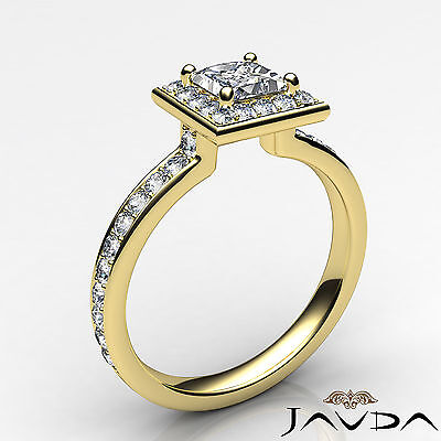 Halo Cathedral Micro Pave Princess Cut Diamond Engagement Ring GIA F SI1 0.95Ct 1