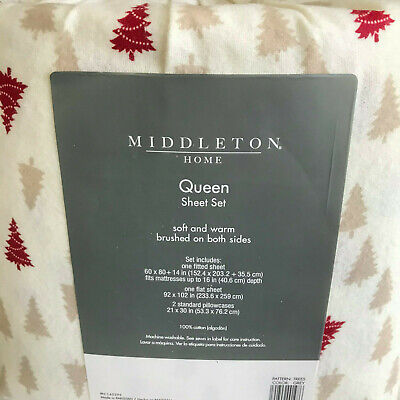 QUEEN SIZE FLANNEL SHEET SET 4PC BY MIDDLETON HOME IVORY RED TAN TREES NWT Tan Flannel Sheet Set