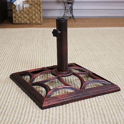 Sunnydaze Curved Design Cast Iron Patio Umbrella Base - 16-Inch Square
