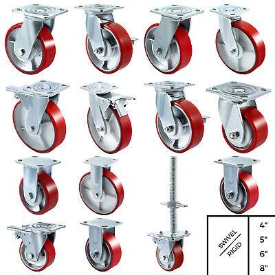 4 Pack Polyurethane Casters 4 5 6 8 Iron Core Flexibly Rigid Polyurethane