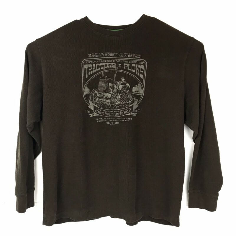 John Deere Mens Shirt XL Thermal Cotton Polyester Brown Long Sleeve Pullover