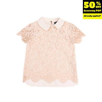 TWIN-SET SIMONA BARBIERI Top Blouse Size 8Y Lace Front Poplin Back