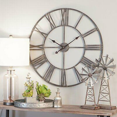 Oversized Wall Clock 30 in Large Metal Home Decor Art Roman Numbers Living Room Roman Home Decor