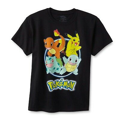 Pokemon Youth Boys' Graphic T-Shirt - Characters Pikachu, Charmander, Squirtle