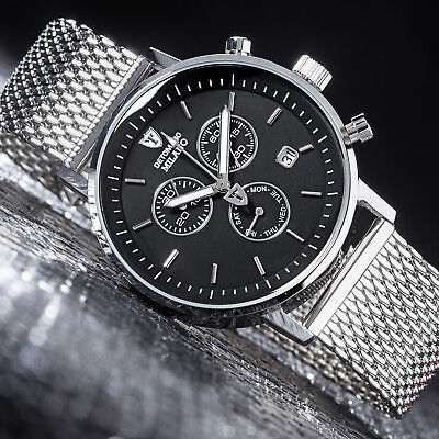 DETOMASO MILANO Herrenuhr Chronograph Milanaise Armband Edelstahl Schwarz Neu