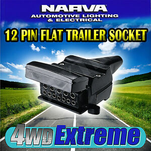 NARVA 12 PIN FLAT FEMALE PLUG CONNECTOR CAR CARAVAN CAMPER TRAILER 82072 82072BL