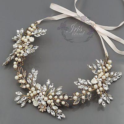 Crystal Pearl Flower Headband Headpiece Tiara Bridal Wedding Accessory 599 Gold