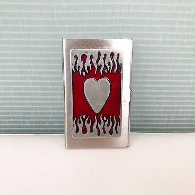 Silvertone And Red Business Card Holder