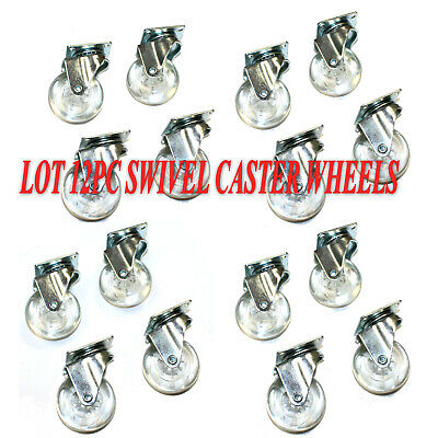 12 Pcs 2 Swivel Caster Clear Wheels Metal Base With Bearings Set Lot Of 12