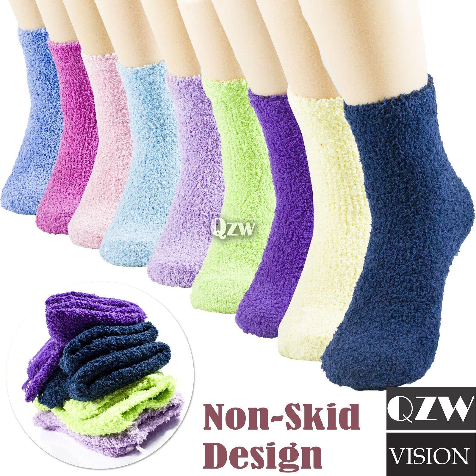 1-12 Pairs Womens Winter Super Soft Cozy Fuzzy Slipper Non S