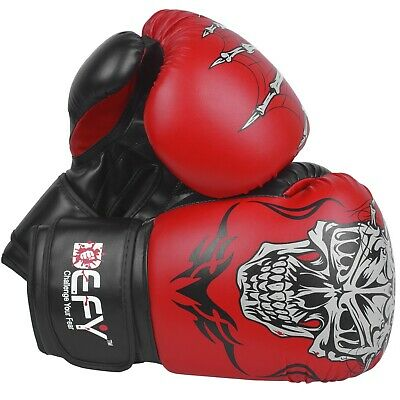 DEFY®  Boxing Gloves Leather Punch Training Sparring MMA Fight UFC Red Skull ()