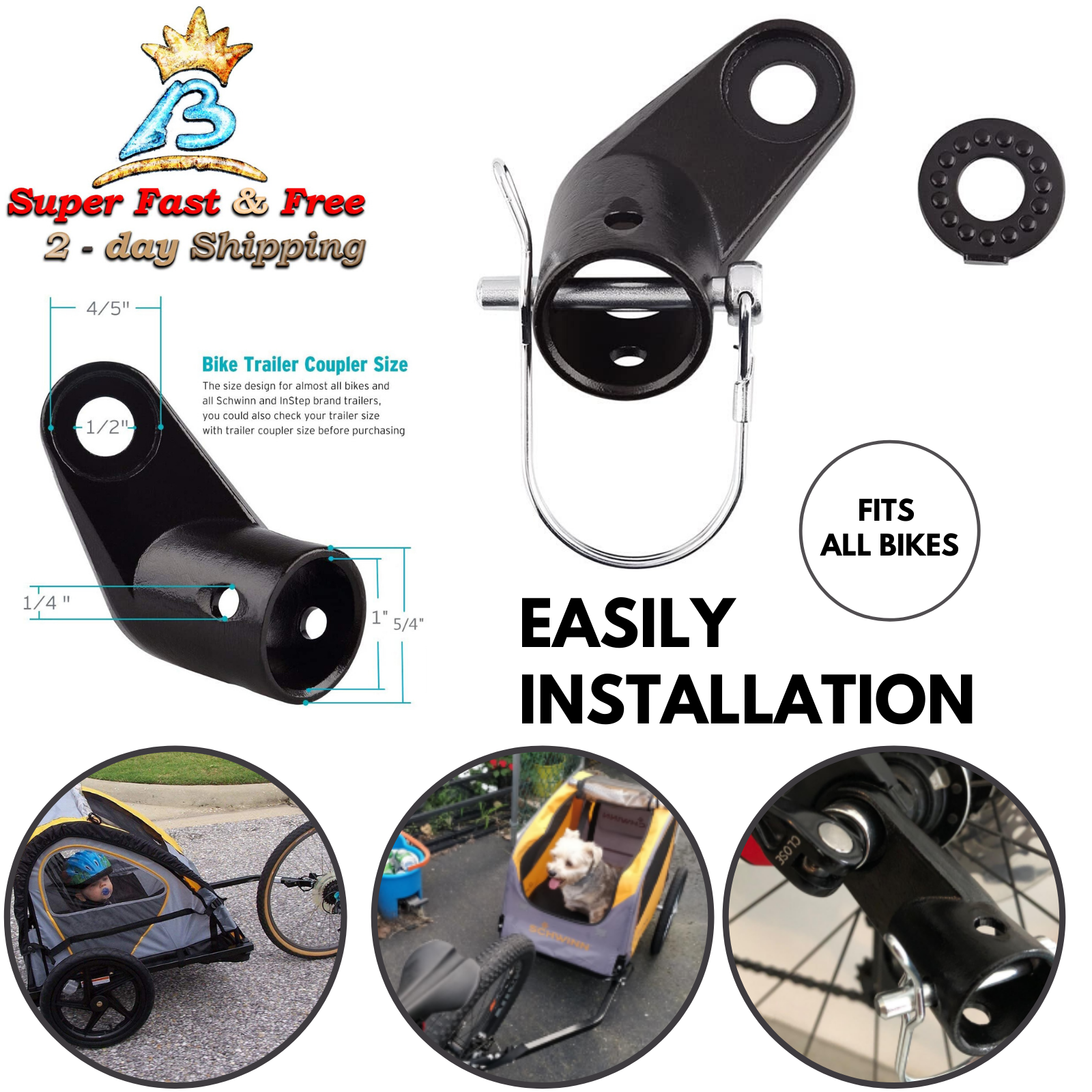 For InStep Schwinn Bike Bicycle Trailer Coupler Attachment Hitch Elbow A3C5