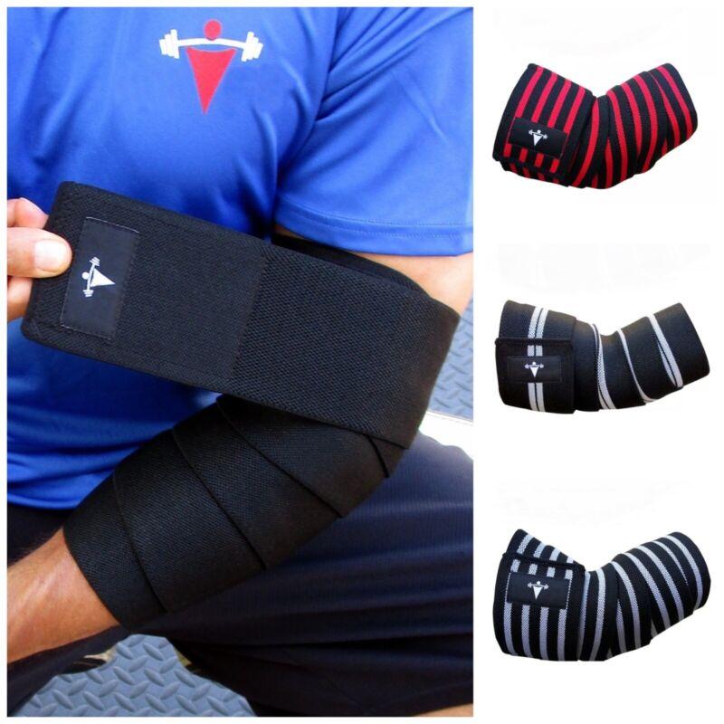 Pair Elbow Wraps Compression Support Brace Elastic Tendinitis Gym Workout Strap