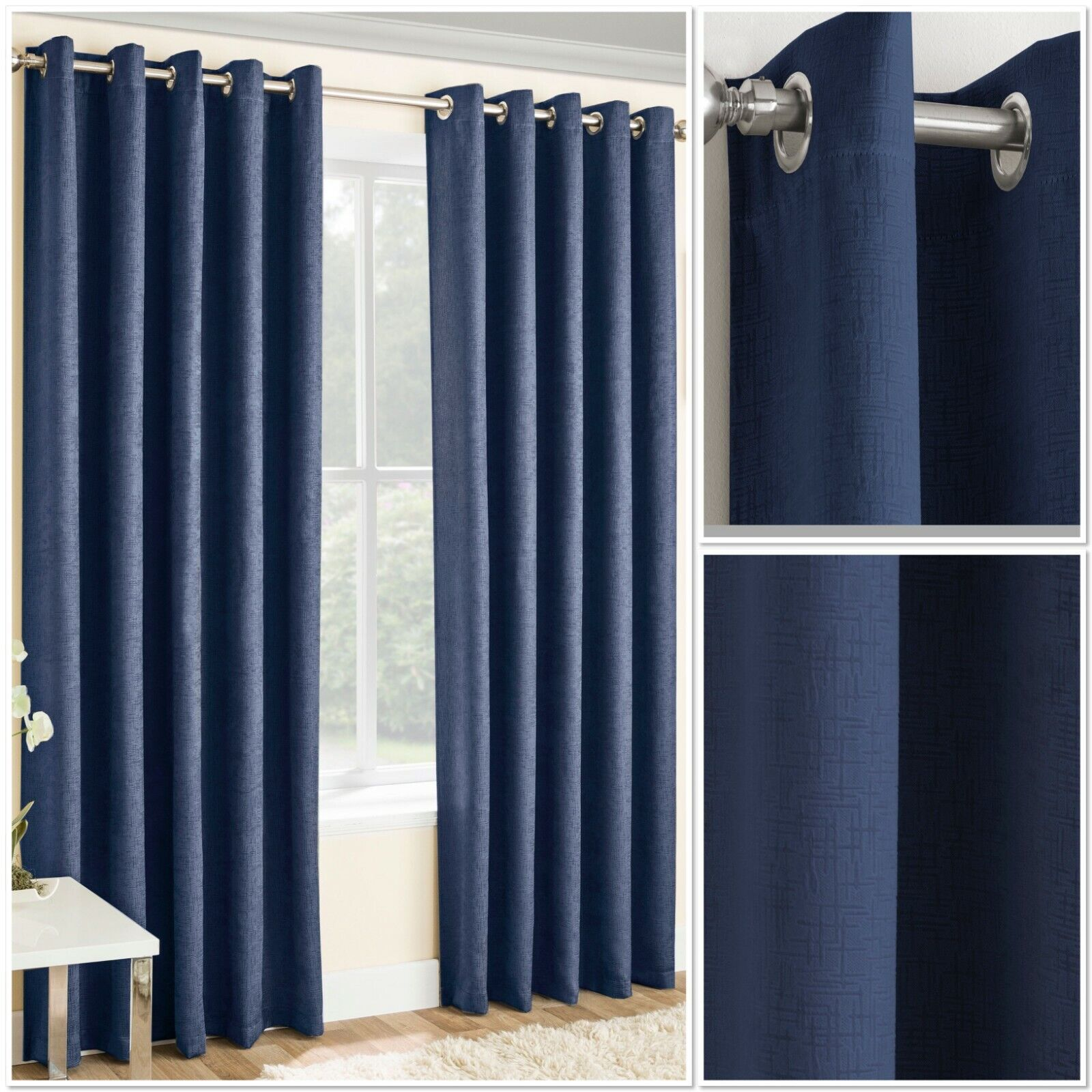curtains - Vogue Woven Textured Blockout/Thermal Interwoven Lined Eyelet Curtains Navy