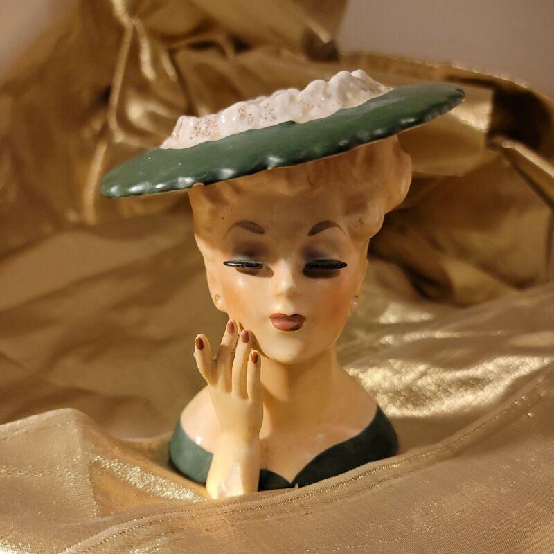 Vintage Lady Head Vase 1958 C3343 NAPCOWARE Japan Green Dress DAMAGE PLEASE READ