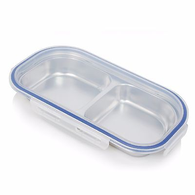 New 2 Divided Stainless Steel Food Tray With Cover Container Kids Snack Plate