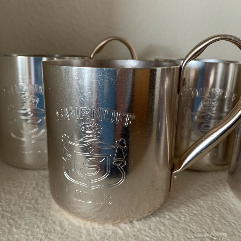SMIRNOFF Moscow Mule Mug Cup Set of 4 Collectible Copper Tone Mugs