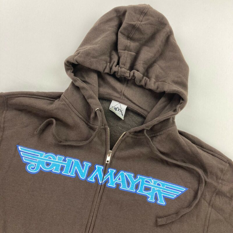 John Mayer Concert Tour Hoodie Sweatshirt Jacket Brown • Large