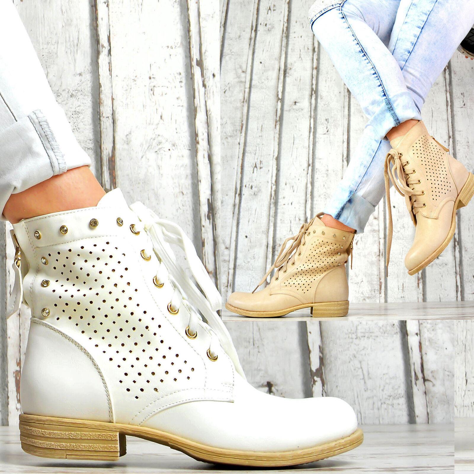 fbcc0d7c2e7a1a Neu Designer Damen Schuhe Biker Sommer Schnür Ankle Boots Stiefeletten Weiß