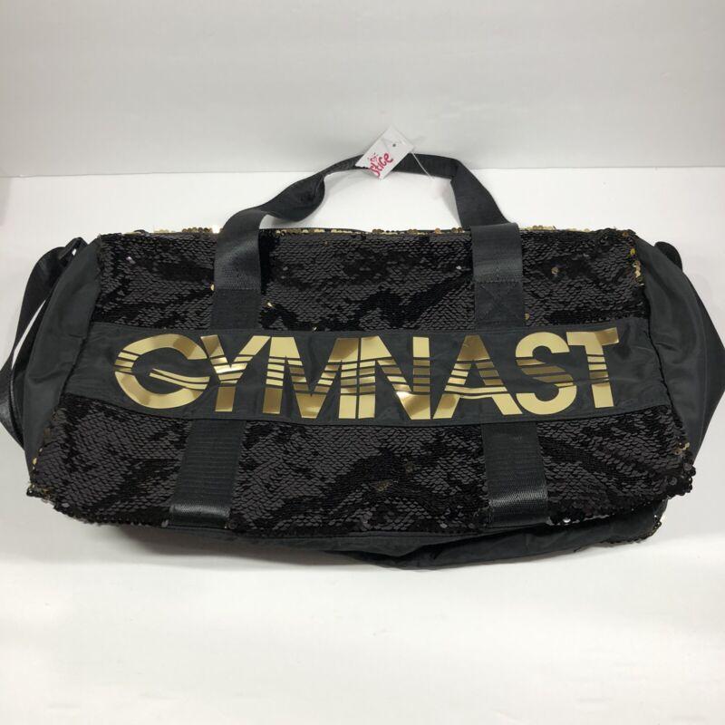 Justice Girls Gymnast Flip Sequin Duffle Bag Tote Gymnastics Black Gold Gym NWT