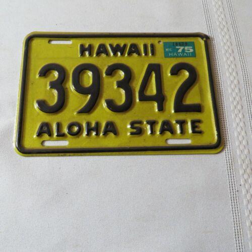 1975 HAWAII MOTORCYCLE LICENSE PLATE 39342