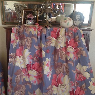 So FRENCH COUNTRY Blue & PINK Vintage 1940's Barkcloth Huge Drapes x6
