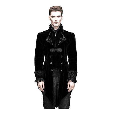 Mens Black Velvet Gothic Victorian Steampunk Vampire Costume Swallow Tail Jacket (Victorian Mens Costumes)