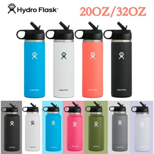 Hydro Flask Water Bottle Wide Mouth 32oz / 20oz / 40oz Straw Lid, 2.0 New Design