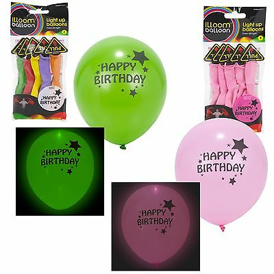 Illoom LED Light Up Glow Balloon Happy Birthday Party Decoration Multi Pack NEW (Happy Birthday In Lights)