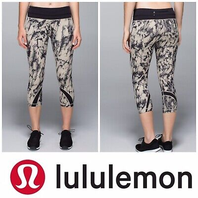 Lululemon 8 Womens Run Inspire Crop II All Luxtreme Great Granite Black Mojave